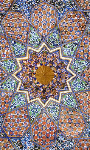 Tile detail, The Mausoleum of Khawaja Ahmed Yasawi, Turkestan, Kazakhstan