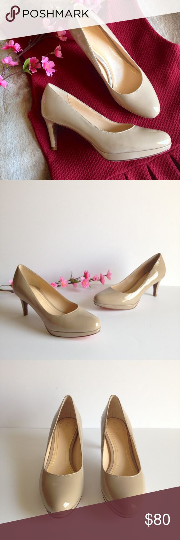 """NWOT Cole Haan Nude Patent Leather Pumps You can't go wrong with this classic nude patent leather pump by Cole Haan, features 3"""" heel and nike air technology for comfort all day long. Brand new without box/dust bags, this item was a store display and has markings on the soles as pictured! Size 9. I happily entertain reasonable offers  Cole Haan Shoes Heels"""