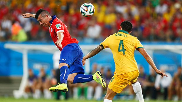 Tim Cahill got the Socceroos back in the match with a trademark header.