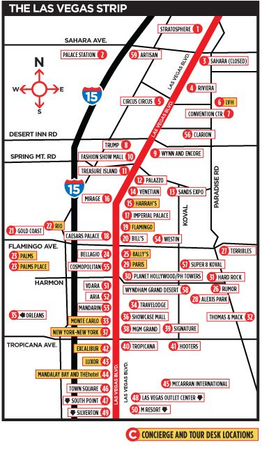 Las Vegas Map -The Strip. You could print this map off and keep it in a purse. Handy when walking the strip and checking out all the hotels.