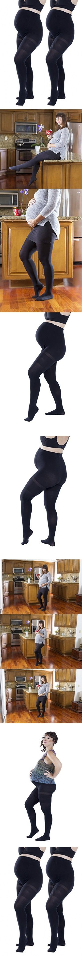 2 Pack of Felicity Opaque Maternity Tights, Won't Fall Down (S/M, Black)