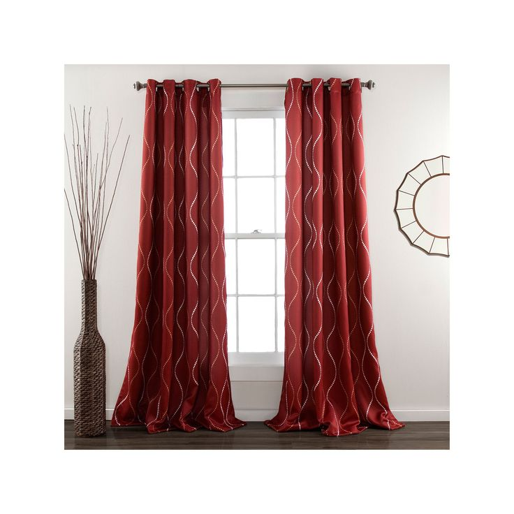 Lush Decor Swirl 2-pk. Room Darkening Curtains - 52'' x 84'', Red