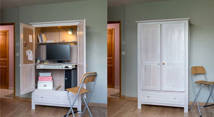 Découvrez pas à pas comment créer un meuble secrétaire avec une armoire. Avec les DIY, plus besoin d'acheter, confectionnez vous-même vos meubles.