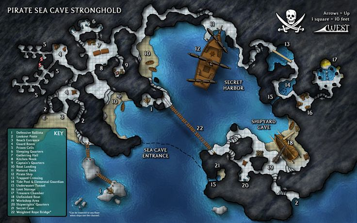 """This 2-page spread Map of Mystery depicts a hidden sea cave inspired by my love of the first """"Pirates of the Caribbean"""" movie. I think it would make a great set piece for a D&D adventure."""