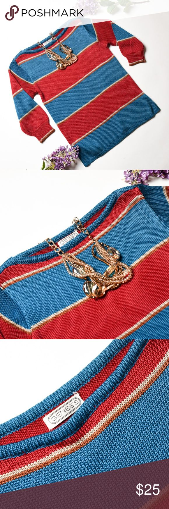 GENESIS Blue/Red Striped Knit Sweater - Size S Beautiful Sweater! Wear it with a lovely statement necklace and jeans, for a casual and modern look.  •Size Small •Pre Owned in great condition •No pets, Non Smoker Home •Bundle with at least one more item for a private discount! Genesis Sweaters