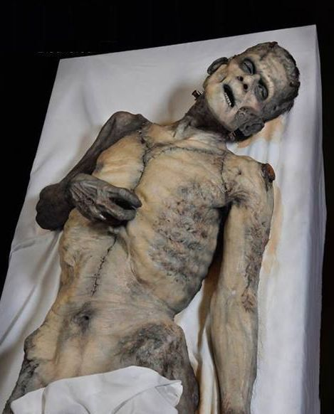 Mike Hill's Frankenstein autopsy sculpture / prop , great version of the creature .