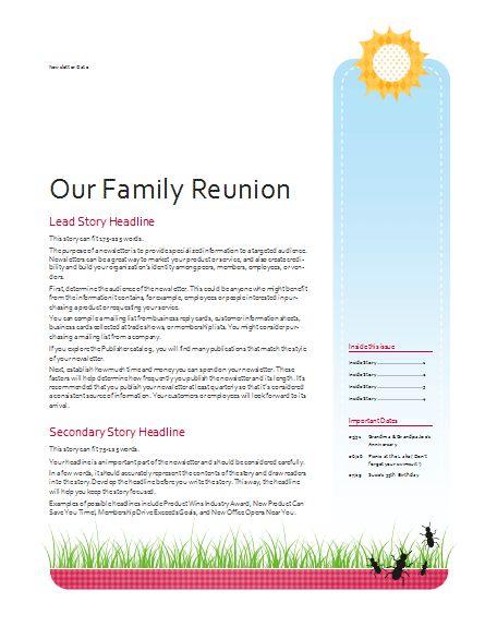family reunion newsletter template  Google Search  Family Reunion  Newsletter templates