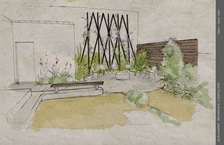 A Render Of The Back Yard And Trellis For The Alexander