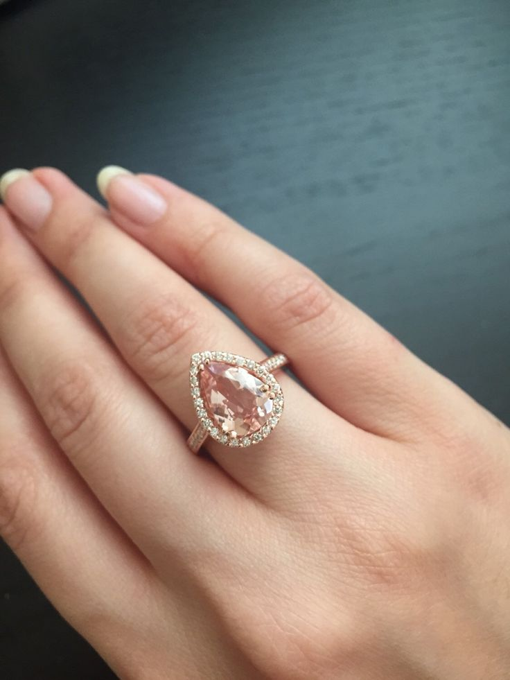 14K Rose Gold Pear-Shaped Morganite Ring Style #L4825 by LusterLaValliere on Etsy https://www.etsy.com/listing/254363788/14k-rose-gold-pear-shaped-morganite-ring