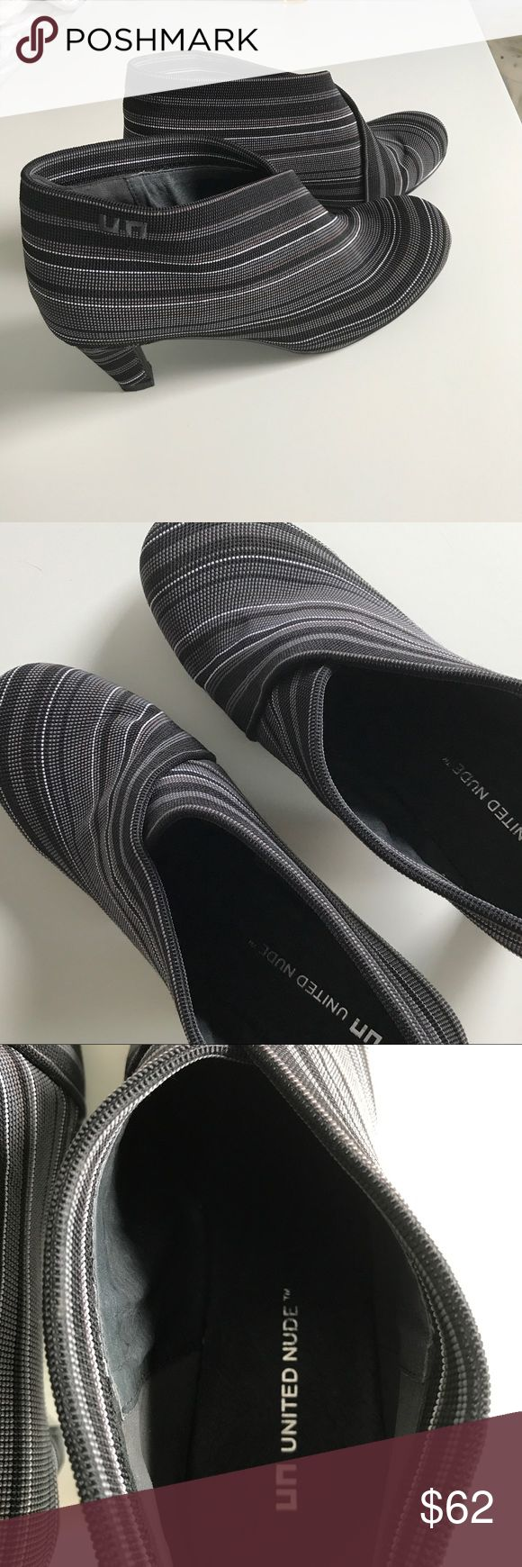 """UNITED NUDE striped ankle bootie Stunning striped ankle bootie by United Nude. Barely worn. 2"""" heel United Nude Shoes Ankle Boots & Booties"""