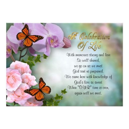 7 best Celebration of life images on Pinterest Memorial ideas - funeral invitation cards