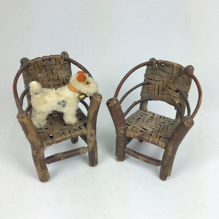 2 antique rustic adirondack chairs salesman sample hickory wood early 1900s folk art miniature handmade from MilkweedVintageHome by MilkweedVintageHome on Etsy