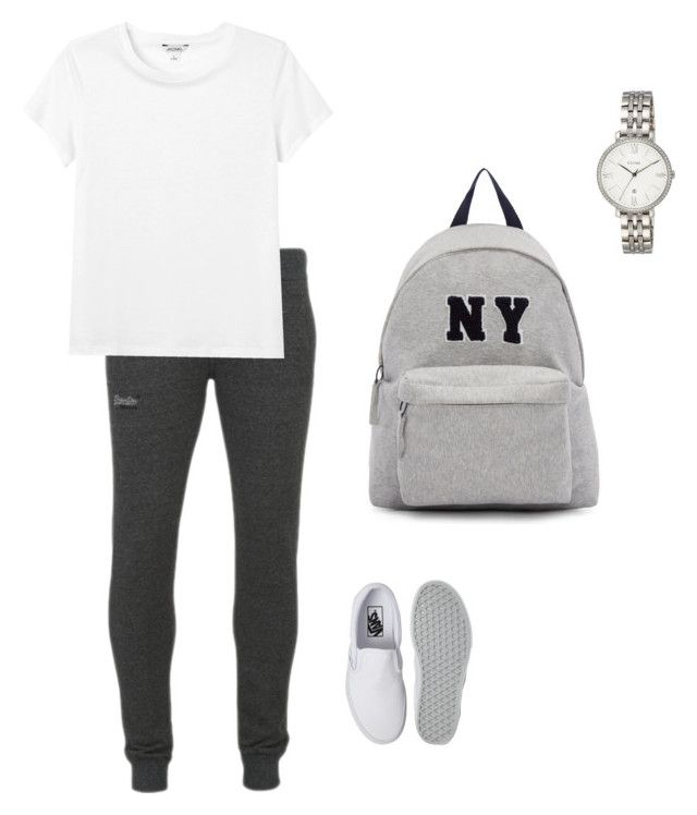 Sporty casual. by creece-massoudi on Polyvore featuring polyvore, moda, style, Monki, Superdry, Vans, Joshua's, FOSSIL, fashion and clothing
