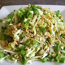 Crunchy Cabbage Salad.  (in the recipe, 2 Minute Noodles = Ramen Noodles)  This is my favorite thing at our family potlucks.