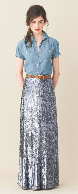 sequined maxi skirtSequins Skirts, Red Wine, J Crew, Long Skirts, Denim Shirts, Sequins Maxis, Denim Top, Maxi Skirts, Maxis Skirts