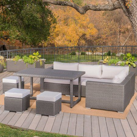 Best Avianna Outdoor 8 Piece Wicker Dining Sofa Set With 400 x 300