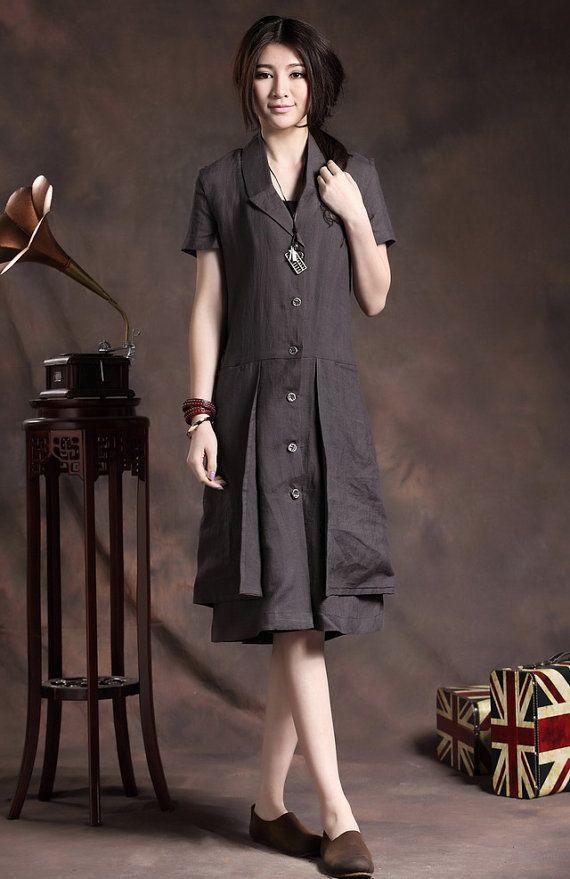 camiseta Lino vestido vestido lino / capas vestido por camelliatune, $88.00