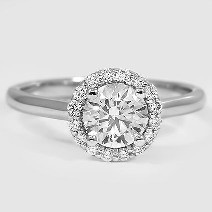 18K White Gold Halo Diamond Ring // Set with a 0.80 Carat, Round, Very Good Cut, E Color, VS2 Clarity Diamond #BrilliantEarth