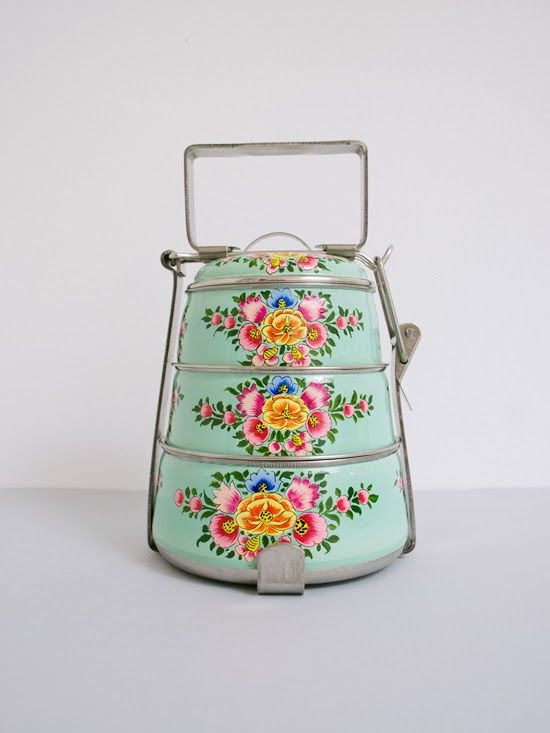Poppytalk: Handpainted Tiffin Carriers from The New Domestic