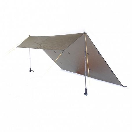 Rig Tarp supported by two walking poles available from alpkit.com