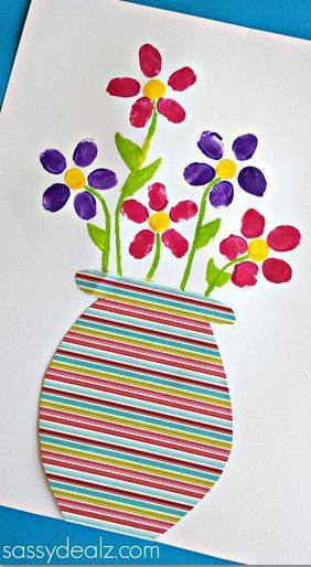 Fingerprint Flower Pot Craft for Kids to Make #Mothers day craft #Kids art project | CraftyMorning.com