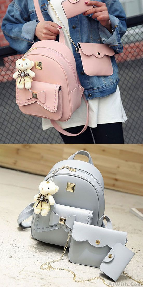 Lovely Bear Pendant PU School Backpacks Gray Pink Splicing Bowknot School Bag for big sale ! #school #college #backpack #rucksack #bag #bow #cute #girl