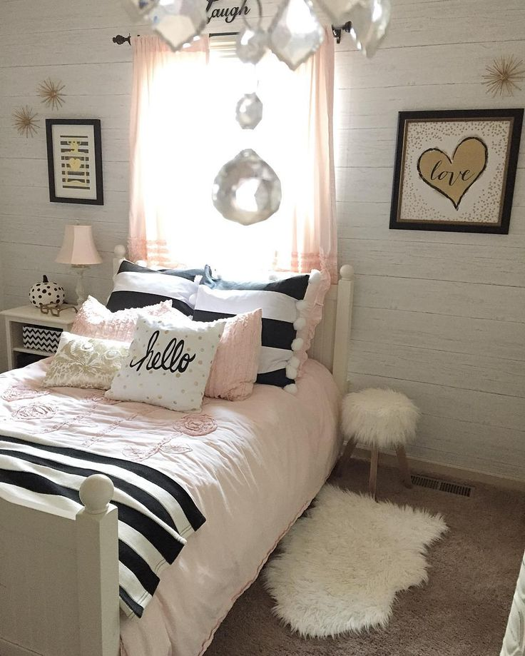 The 25 best pink stripe wallpaper ideas on pinterest nautical iphone wallpaper infinity - Black and white bedroom designs for teenage girls ...