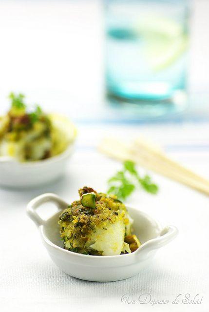 Involtini di pesce gratinati ai  pistacchi e limone