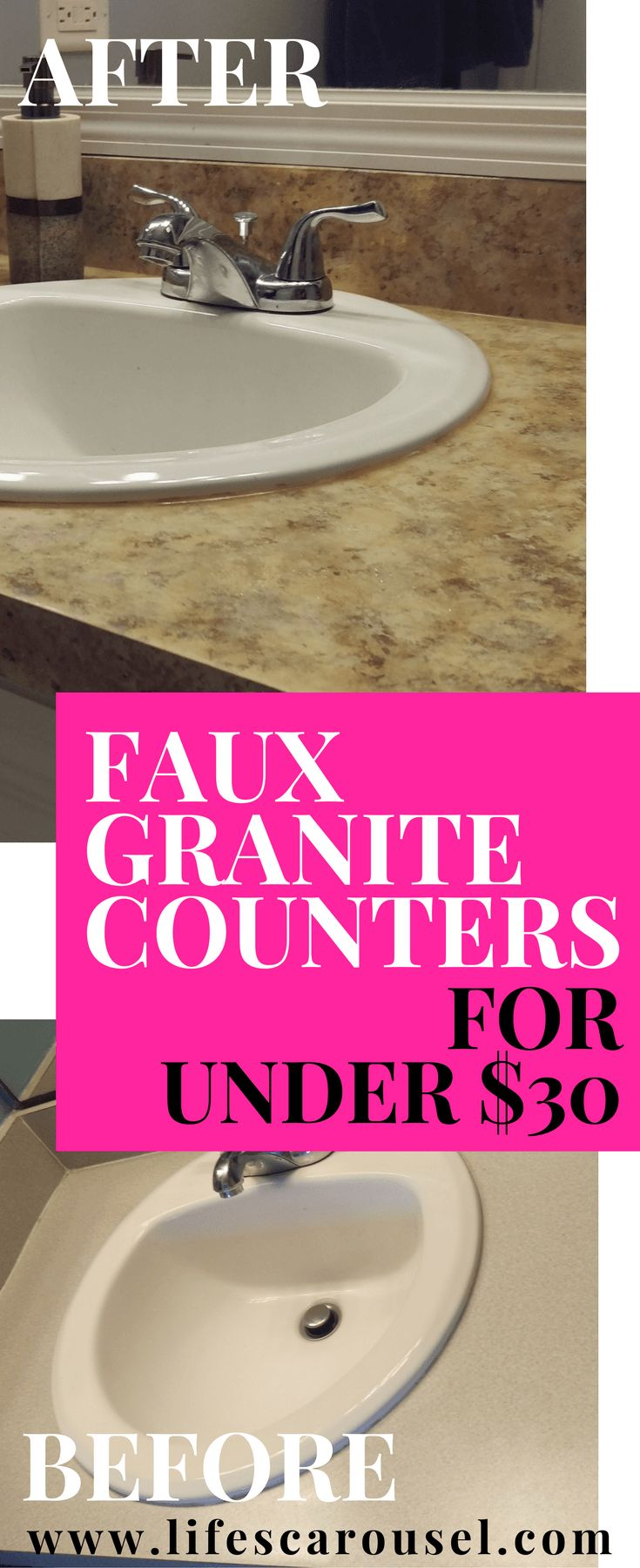 Want the look of Granite Counters without the price tag? Try these DIY painted Granite Counters for UNDER $30! Cheap, affordable granite counter alternative!