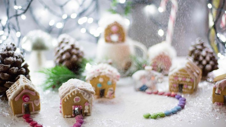 Gingerbread house villaggio innevato