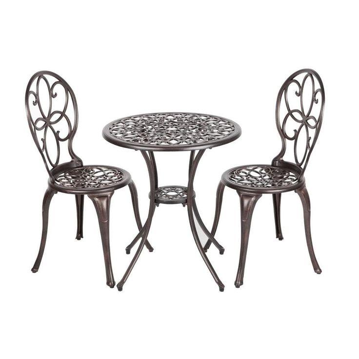 Patio Sense 61490 Arria Antique Bronze Cast Aluminum 3pc. Bistro Set, Patio Furniture