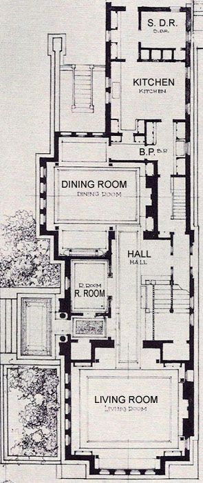 Frank Lloyd Wright's The Heller House is on Woodlawn Avenue in Chicago, IL. This image is a detail of the Floor Plan.