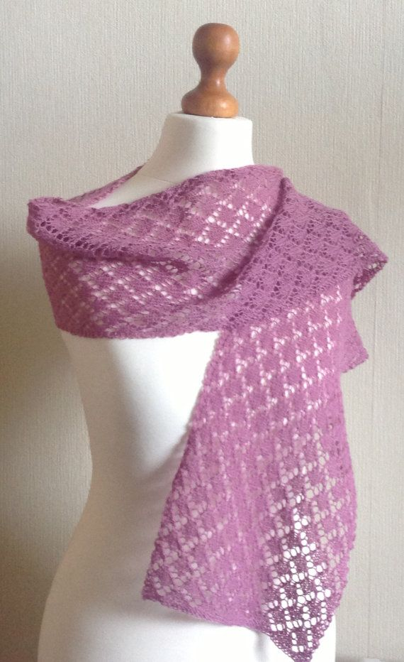 Violet Hand Knitted Lace Wrap / Scarf by Snugglescuddles on Etsy, £35.00