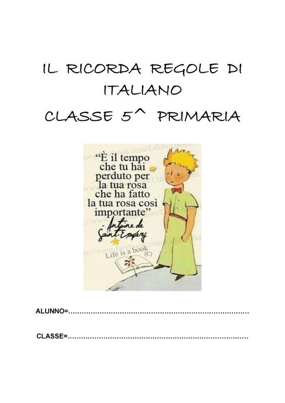 IL RICORDA REGOLE DI ITALIANO CLASSE 5^: