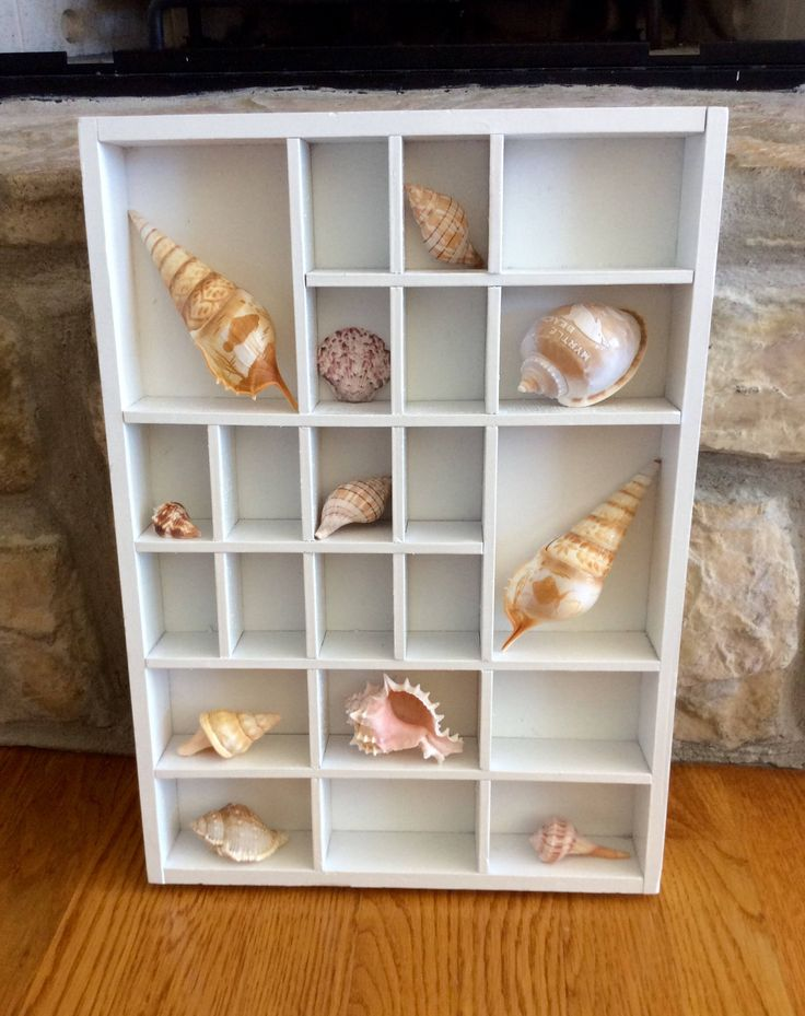 Vintage White Shadow Box, Display Case, Miniature Storage, Seashell Storage, Coastal, Beach, Nautical, Cottage, Wall Display by YellowHouseDecor on Etsy https://www.etsy.com/listing/538357405/vintage-white-shadow-box-display-case