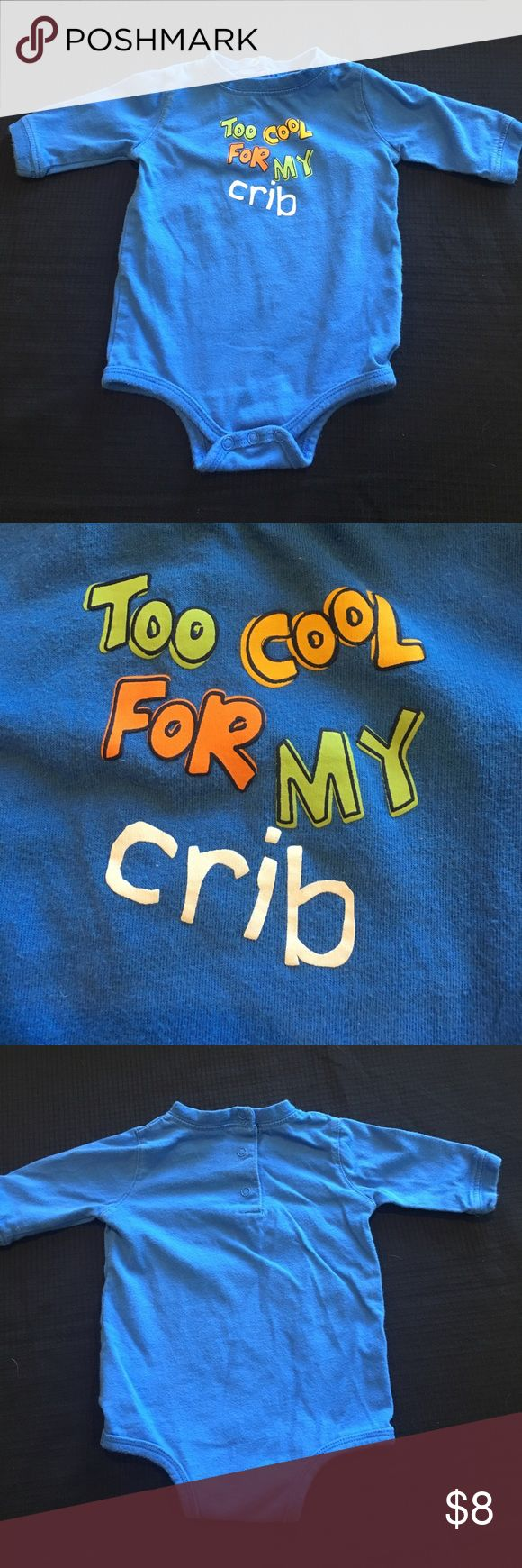 💰💰5for $20 Okie Dokie To Cool for My Crib Onesie Okie Dokie long sleeve blue onesie that says Too Cool For My Crib. Well worn with life left in it. Bundle 215.     💰💰💰💰💰 You can bundle any 5 or more kids listings with 💰💰5 for $20 and make an offer. This makes all listing $4 each. If you want more then 5 listings please make the appropriate offer. I am willing to mix and match non sale listings with sale listings as well. Please ask questions. Thank you. Okie Dokie One Pieces…
