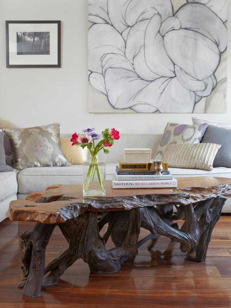 the gorgeous live edge coffee table in this living room is an instant starter tree trunk