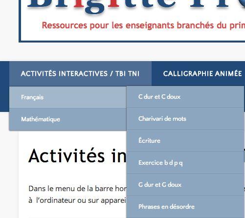 Dans le menu de la barre horizontale du haut, vous trouverez des exercices interactifs à exploiter au TBI-TNI, à l'ordinateur ou sur appareils mobiles (iPad, Tablettes).