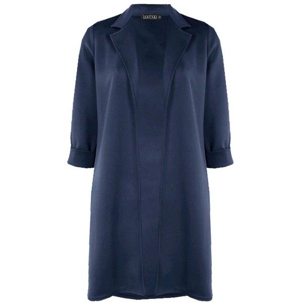 Boohoo Tory Duster Coat (1.710 RUB) ❤ liked on Polyvore featuring outerwear, coats, longline duster coat, blue coat, blue raincoat, blue puffer coat and wrap coat