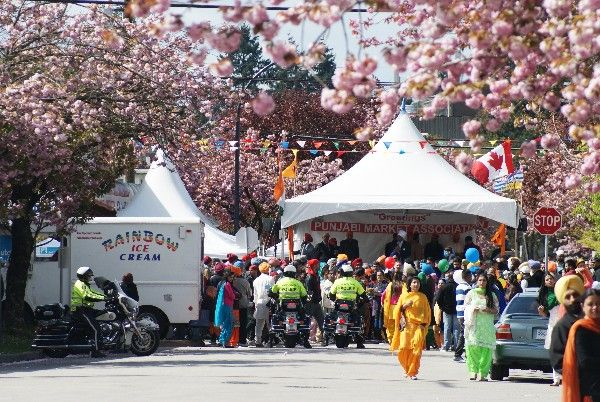 In 2015 on the same day as the Vancouver Vaisakhi Parade there was the Vancouver Cherry Blossom Festival's Sakura Days Japan Fair event at VanDusen Gardens. On the parade day, interestingly, there were millions more cherry blossoms in bloom on side streets at the Punjabi Vaisakhi Festival than at the Sakura Days event that celebrated the arrival of the cherry blossoms.