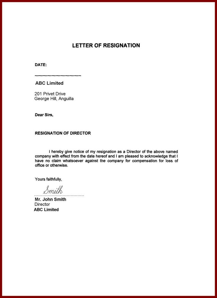 immediate resignation letters