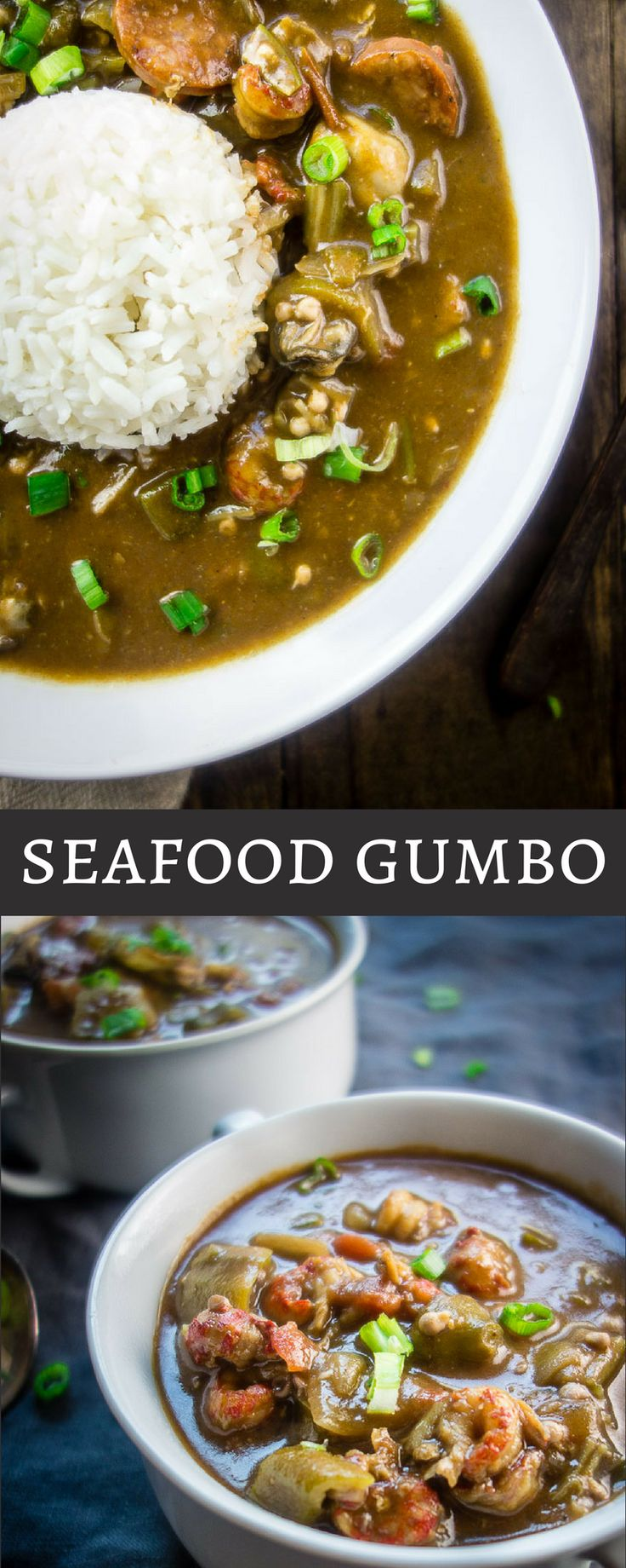 This Louisiana Seafood Gumbo with Okra is packed full of seafood including shrimp, crawfish, oysters, crab and andouille sausage - plus it only takes 40 minutes to make!  new orleans style gumbo | hearty gumbo | southern style gumbo | best seafood gumbo | easy gumbo recipe | quick gumbo recipes | creole gumbo | crab gumbo | oyster gumbo | sausage gumbo | dark roux | how to make gumbo | learn to make gumbo | one pot meals