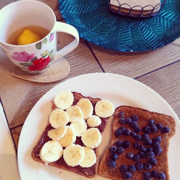 Our perfect breakfast | blueberries, banana, Nutella, honey, peanut butter, green tea | #FEAST #FEASTlifestyle