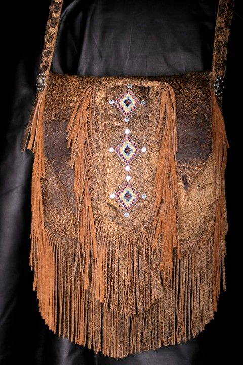 ☮ American Hippie Bohemian Boho Style ~ Leather Fringe Bag