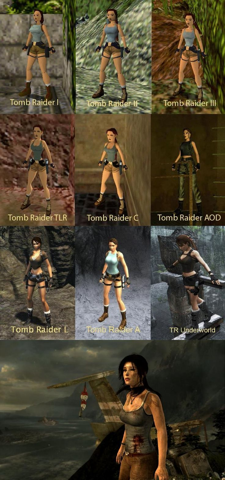Tomb Raider's Lara Croft throughout the years... She has come a long way