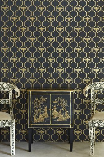 Barneby Gates - Honey Bees - Gold on Charcoal