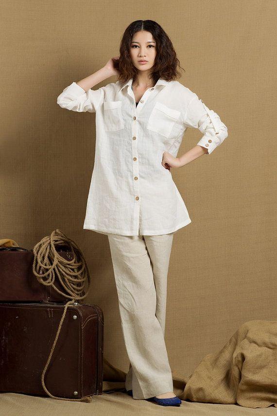 chemise en lin en blanc manches longues chemise par camelliatune
