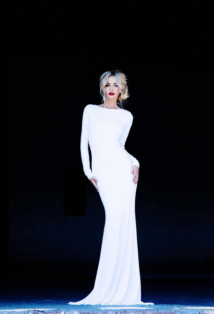 White Long Sleeve Backless Evening Gowns Vintage Scoop Neckline Evening Gowns Cheap Wedding Prom Lurelly Monaco Dress
