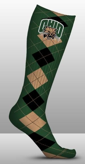 Ohio University Bobcats Socks Argyle Design (pair)