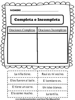 5 paginas de corta y pega. Cada pagina tiene 8 oraciones.-4 oraciones completas-4 oraciones IncompletasGET PART 2 OF THIS HERE: Oraciones Part 2***CLICK FOLLOW ME FOR MORE OF MY PRODUCTS***Thank you for your purchase!!   Please leave me feedback on the product!Please check out some of my other products below: LECTURA EN ESPAOL:20 Reading Comprehension Stories in Spanish- 20 Cuentos De Comprension en EspaolOraciones Completas - Oraciones Incompletas- (Complete and Incomplete Sentence) #2…